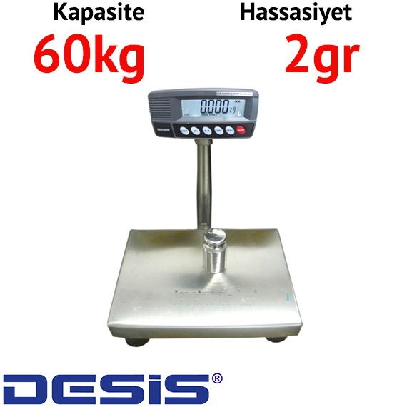 Desis RW Kefesi Paslanmaz Baskül - Hassasiyet: 2 gr. Max: 30 kg